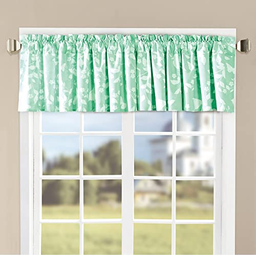 Home Soft Things Serenta Microfiber Bird Song 2 Piece Valance Set, Teal Turquoise, 60 x 18