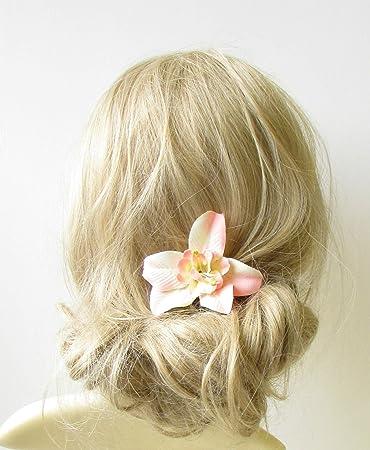 pfirsich creme orchidee blume haar clip rockabilly 1950er vintage