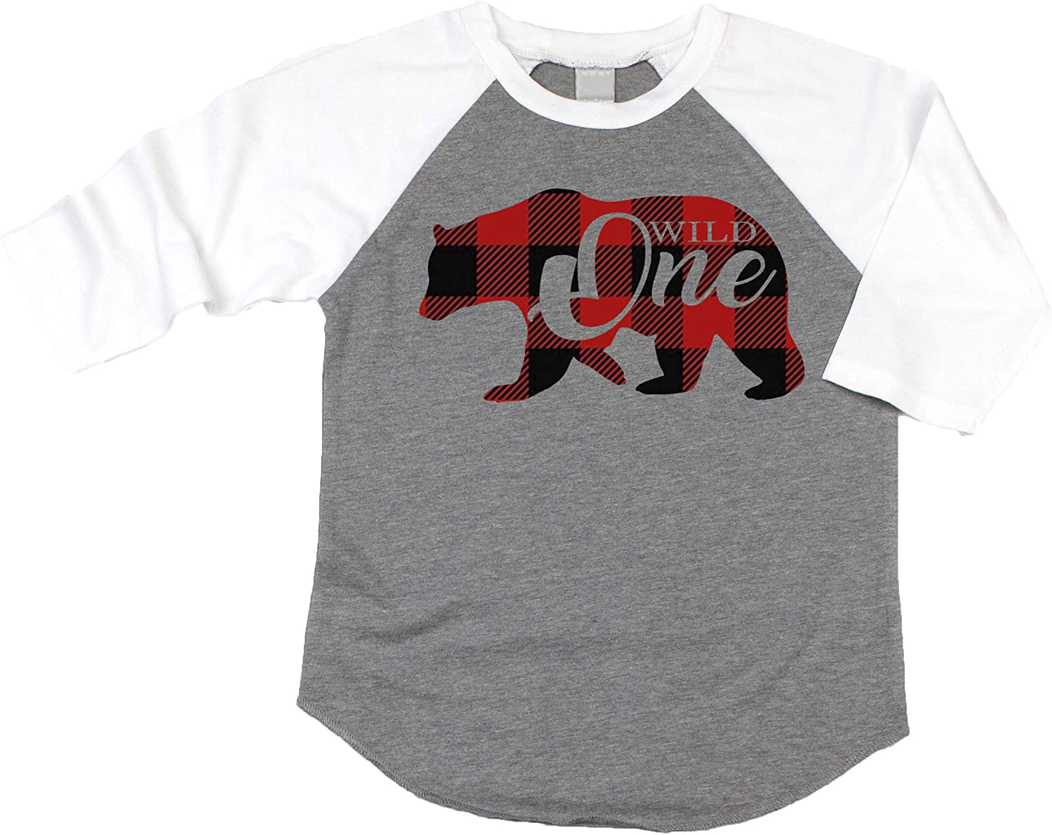 Plaid Bear Wild One 1st Birthday Shirt for Boys First Birthday Outfit