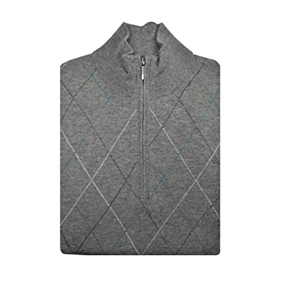 Brooks Brothers Mens 136080 Wool Blend Ribbed Half Zip Sweater Heather Grey Argyle at Men's Clothing store