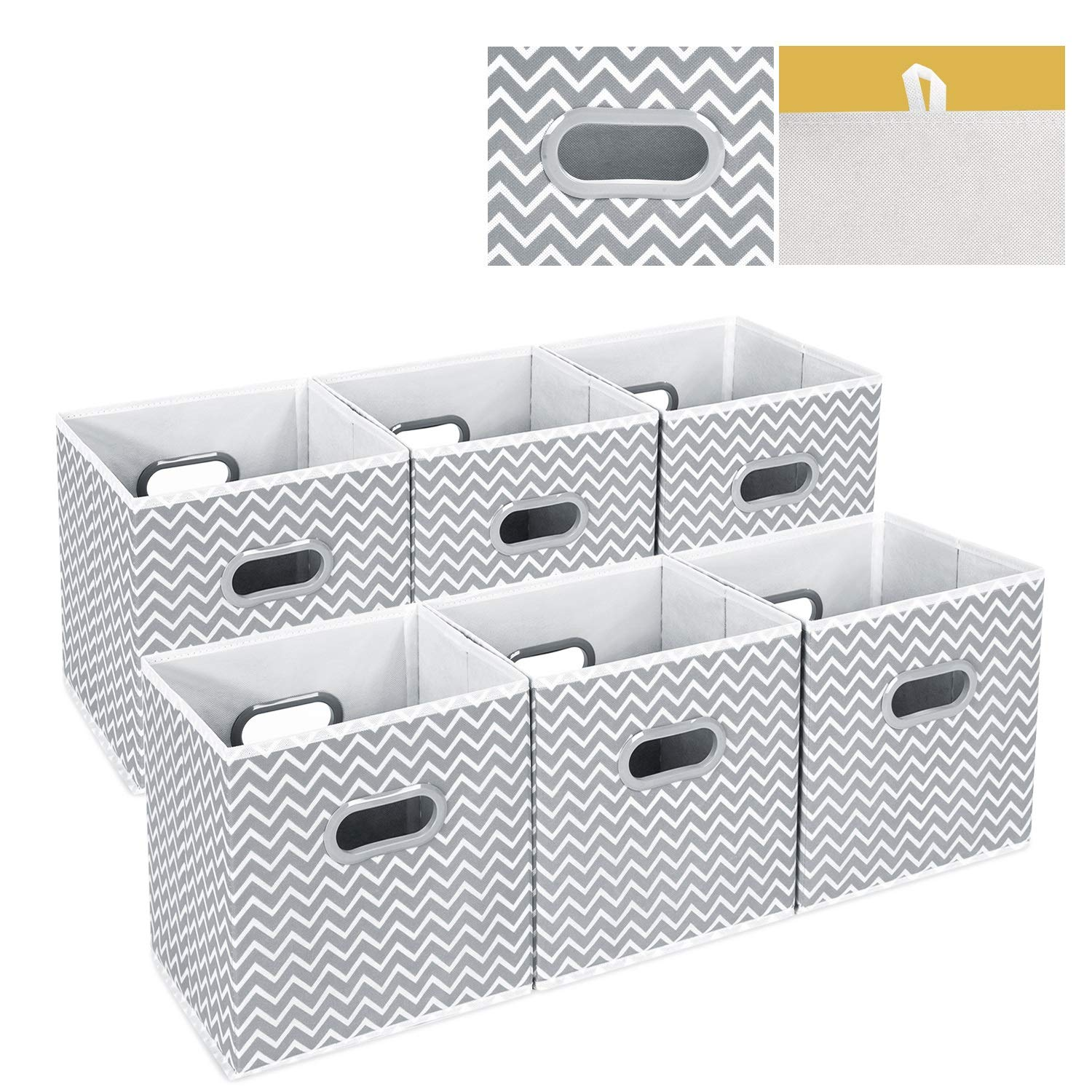 Set of 6 Foldable Organiser Cubes Basket Bin Drawers Containers with Dual Plastic Handles for Home Office Nursery Organisation MaidMAX Fabric Storage Box cm Grey 26.6 x 26.6 x 27.9