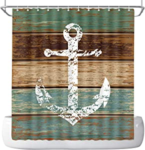 DePhoto Anchor Shower Curtain,Timeworn Marine on Weathered Wooden Planks Rustic Nautical Theme,Polyester Fabric Bathroom Decor Set with 12 Hooks, 72x72 inch,Teal Brown