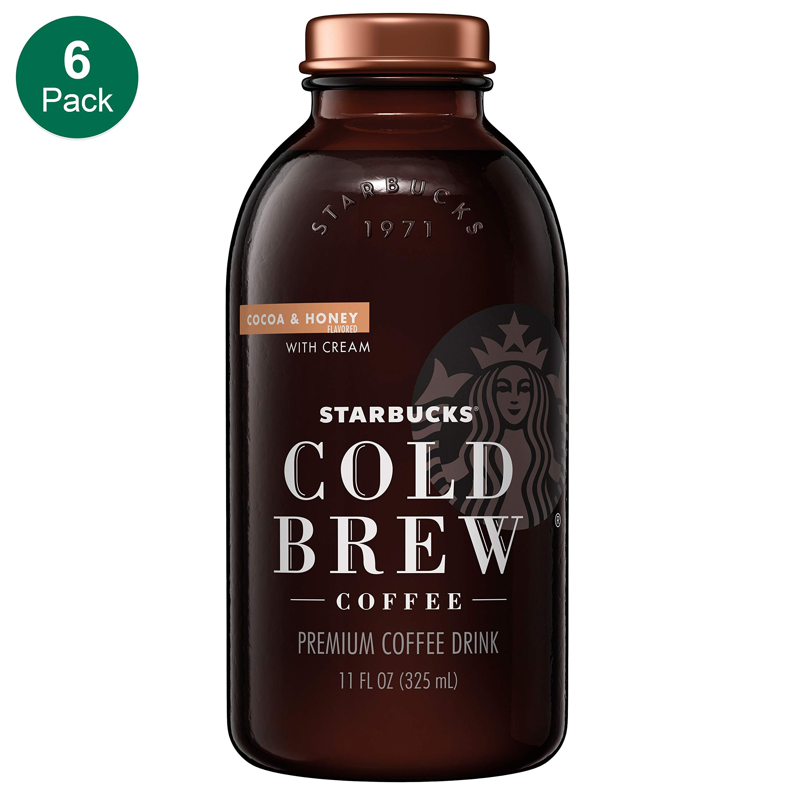 Starbucks Cold Brew Coffee, Cocoa & Honey with Cream, 11 Fl oz Glass Bottles, 6 Count by Starbucks