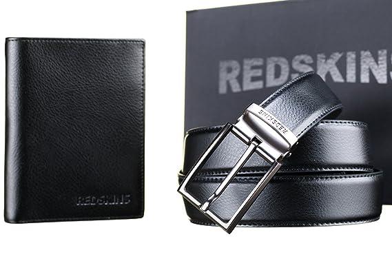 40a8dfb51445 Redskins ceinture coffret carbon ceinture et portefeuille noir U Taille  Unique