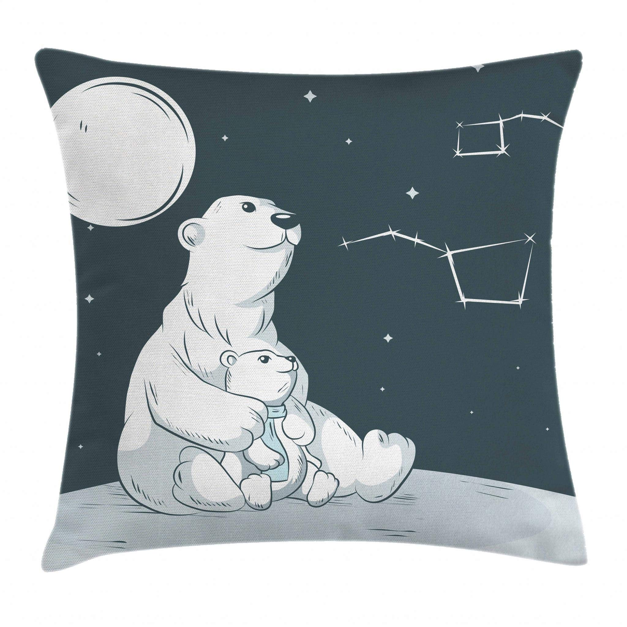 Ambesonne Starry Night Throw Pillow Cushion Cover, Mother Polar Bear Her Son Looking Stars Constellation Illustration, Decorative Square Accent Pillow Case, 18 X 18 Inches, White Blue Vermilion