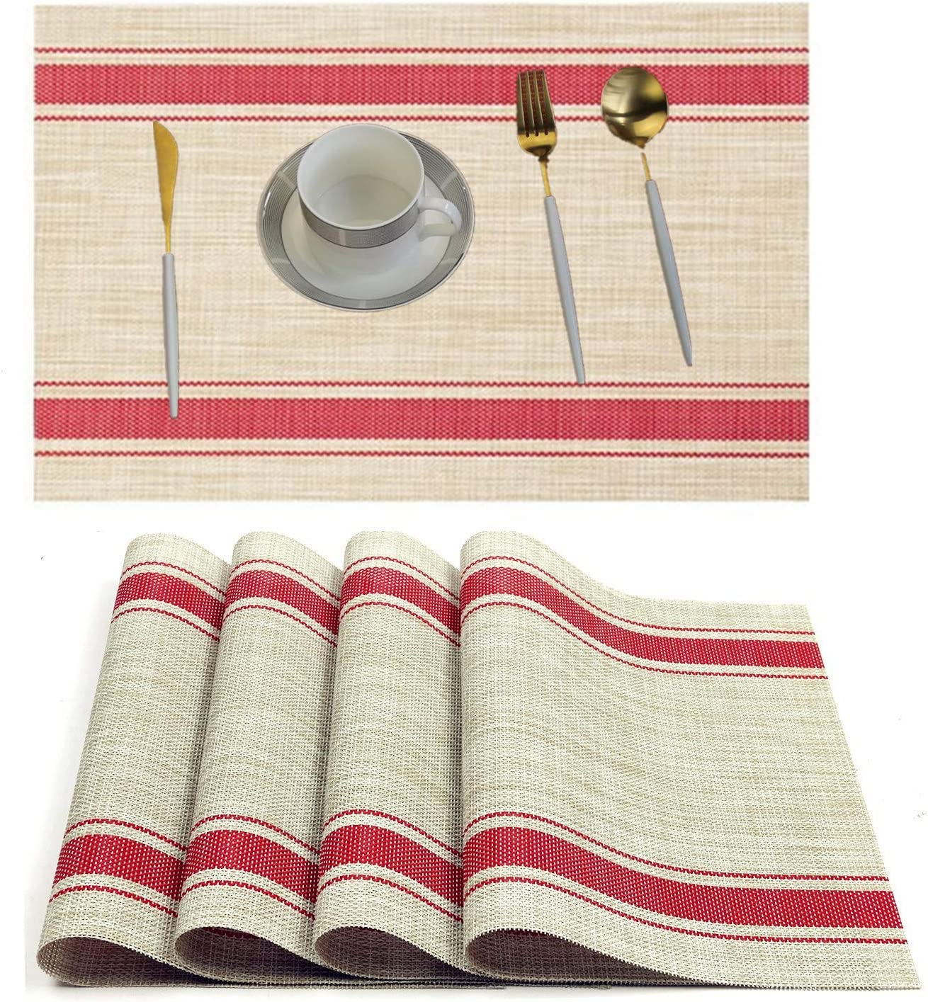 WANGCHAO Placemats Table Mats,Placemat Set of 4 Non-Slip Washable Place Mats,Heat Resistant Kitchen Tablemats for Dining Table (red-Stripe)