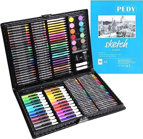 PEDY 164 pcs Maletín de Lápices de Colores, Estuche de Pintruas para Niños, Incluye Crayones de Cera, Acuarelas, Lápices de dibujo, Pasteles, Rotuladores, Gomas de Borrar, Libro para Dibujar: Amazon.es: Hogar