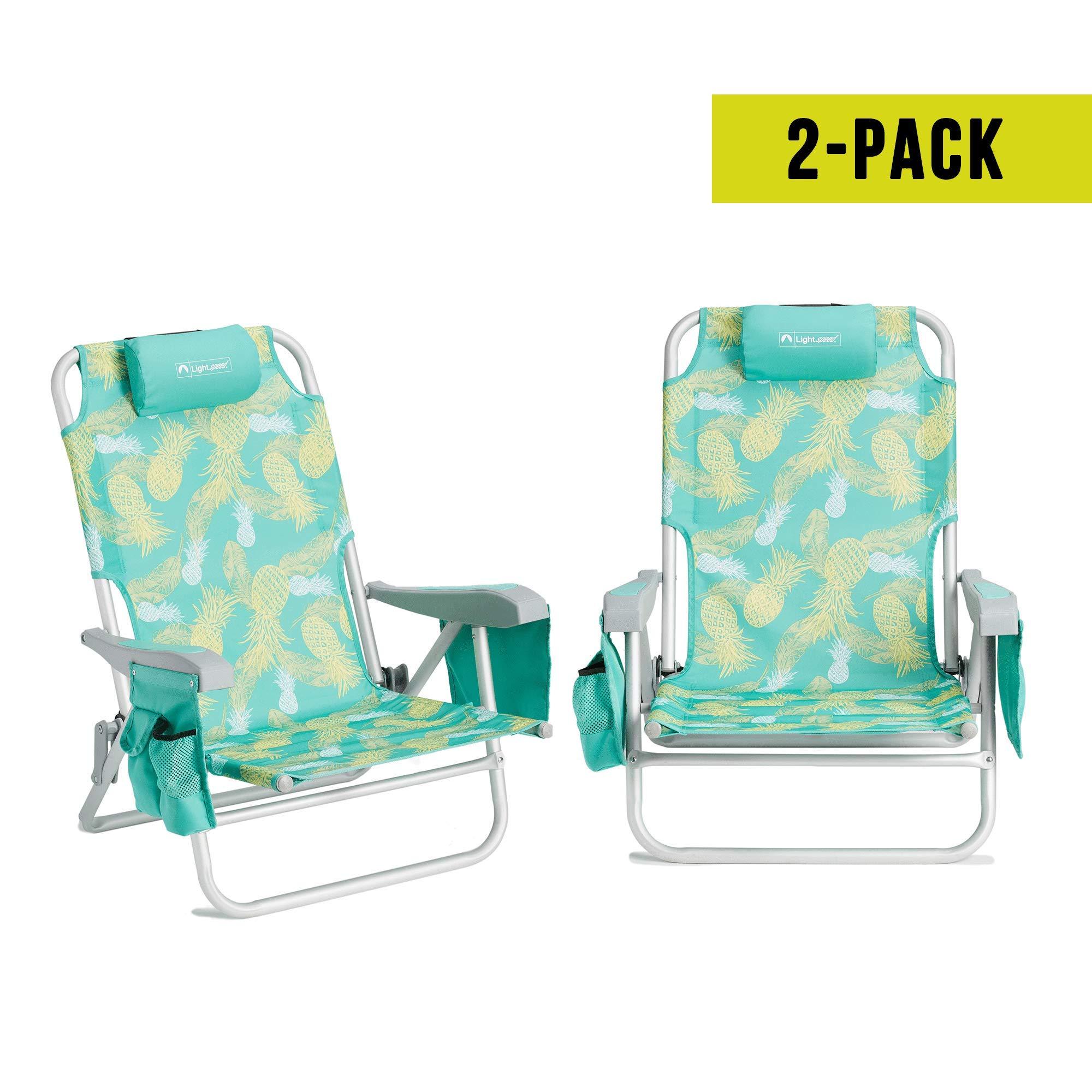 Lightspeed Outdoors 2-Pack Adjustable Backpack Beach Chairs (Pineapple)