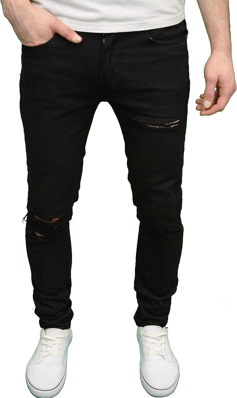 Soul Star para Hombre Funda de elástico Super Skinny Fit Ripped Jeans