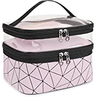 Makeup Bag Cosmetic Bag Travelling Double Layer Make Up Bag Organizer Medium Case for Women Girls Reusable Toiletry Bags…