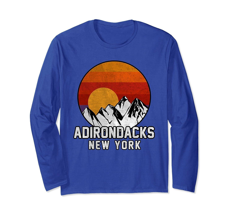 Adirondacks Retro Mountain Sunset Long Sleeve T-shirt-mt