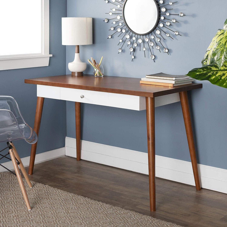Walker Edison Furniture Company Az48mc1acw Mid Century Modern Wood Computer Desk 48 Brown White Amazon Ca Home Kitchen