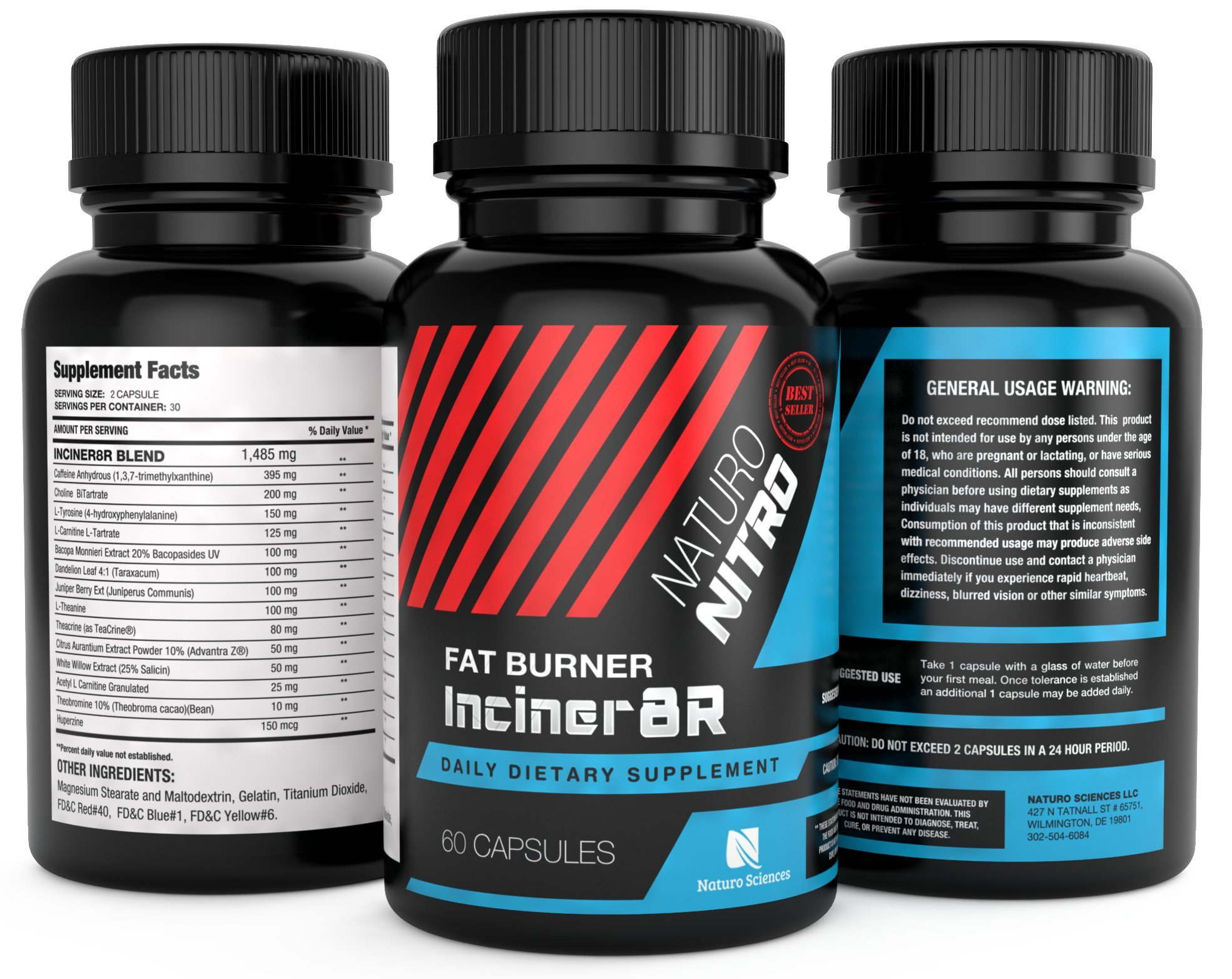 Inciner8R Fat Burner Supplement Designed for Weight Loss and Mental Focus; 1 A Day Pre Workout or Breakfast Pills for Day-long Appetite Control and Fat Loss; Diet Pills for Men and Women - Three Pack