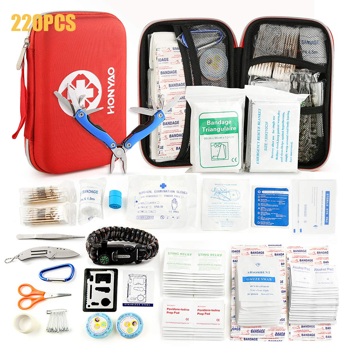 HONYAO First Aid Kit - Survival Kit Upgraded w/ Waterproof Hard Case Multitool Plier Thermal Blanket Bandages and more for Travel Hiking Camping Fishing Hunting Boating Outdoor Adventure