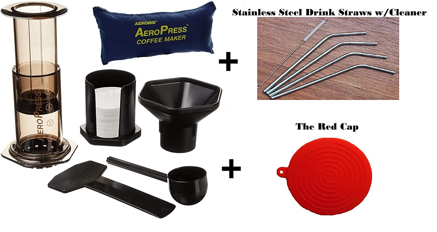 Aeropress Coffee and Espresso Maker With Tote and Bonus Drink Straws The Red Cap