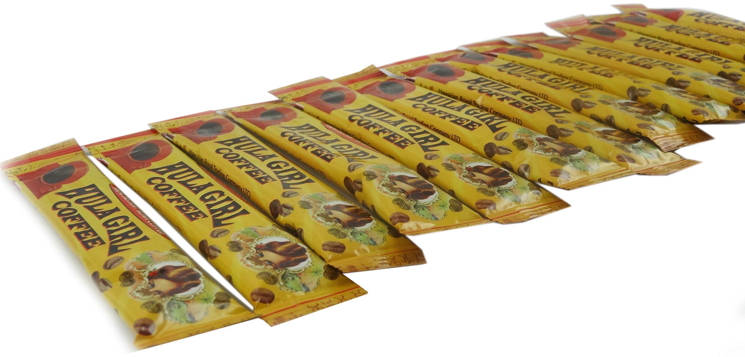 Box of 25 - 100% Hula Girl Instant Kona Coffee Sachets (total of 25 sachets)