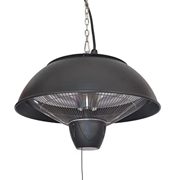 Firefly 2.1kW Ceiling Mounted Black Electric Halogen Patio Heater   Two  Heat Settings With Remote