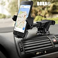 BOKA One Touch Car Mobile Phone Holder for Car Dashboard/Windshield Sucker Silicone Base Free Rotation Long Neck 360° - Reusable Suction Cup for Xiaomi,Lenovo,Apple,Samsung,Sony,Oppo,Vivo