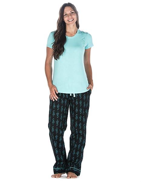 Noble Mount para Mujer Premium algodón popelín Lounge/Juego de Pijamas - Negro -