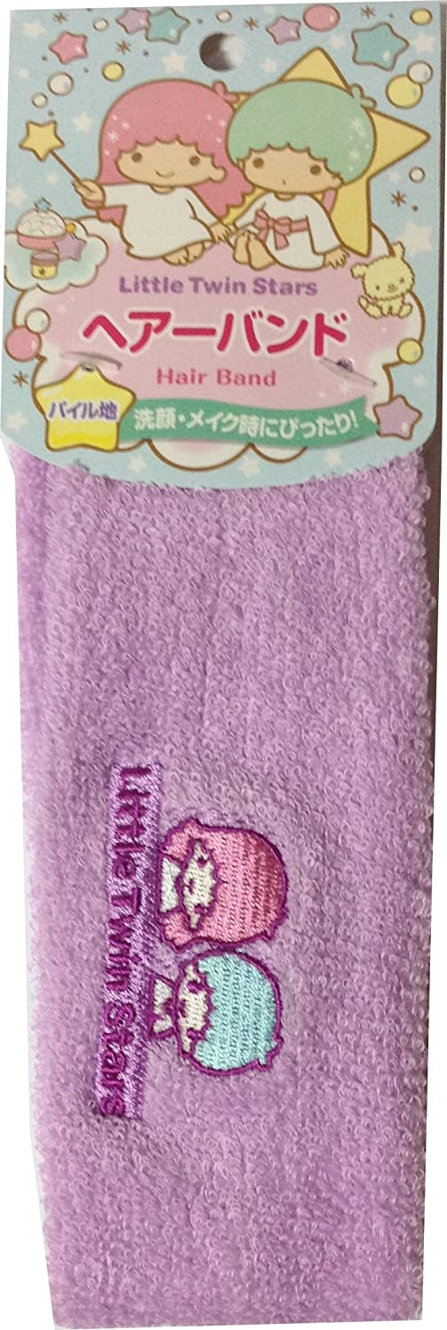 Sanrio Little Twin Stars Pile fabric Embroidered face Headbands 18cm × 6.5 cm Hair Styling Washing face Makeup (Purple)