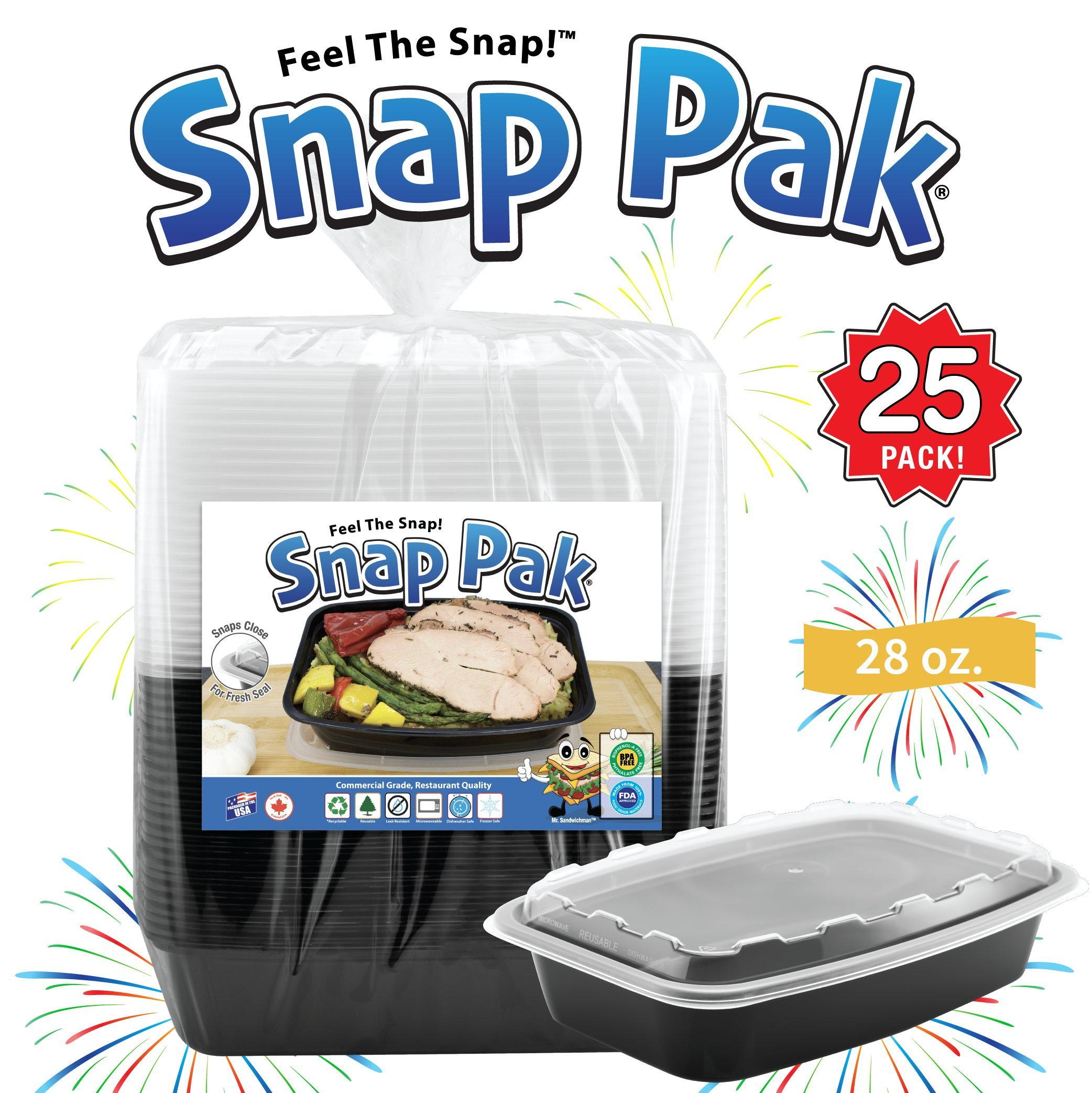 Snap Pak 12010 Food Storage Containers 28 oz. 25 Pack! Black/Clear