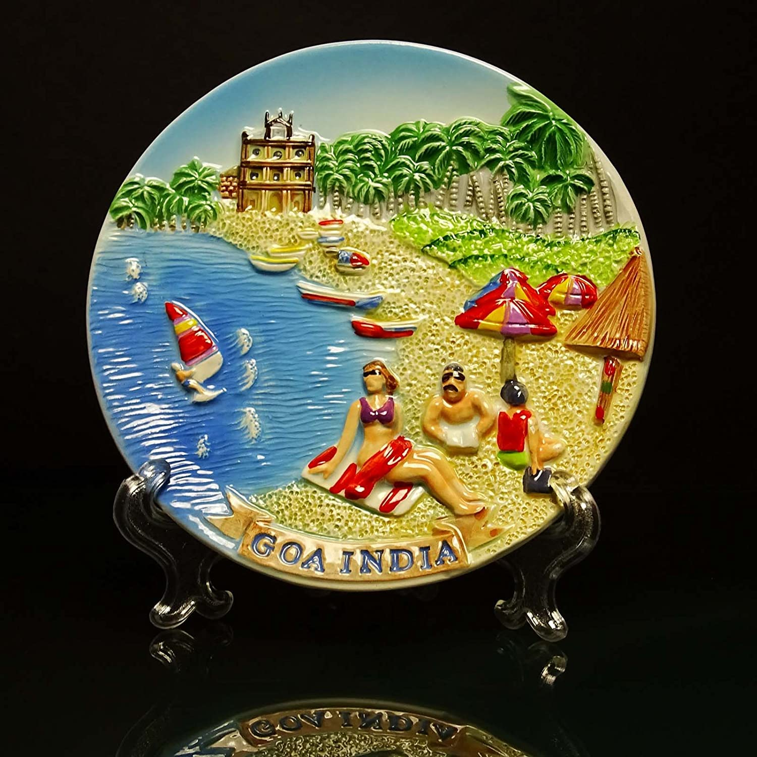 Amazon.com: Decorative Plate Engraved Goa Beach Wall Hanging Indian ...