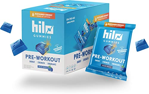 Hilo Pre-Workout Energy Gummies – Caffeine, Beta Alanine and S7 Nitric Oxide Booster – Gluten Free Vegan – Blue Razz Flavor, 10 Single Serve Packs