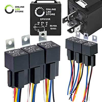 ONLINE LED STORE 6 Pack Bosch Style 5-Pin 12V Relay Kit [Interlocking Harness Socket Holder] [14 AWG Hot Wires] [SPDT] [30/40 Amp] 12 Volt Automotive Relays for Auto Fan Cars: Automotive