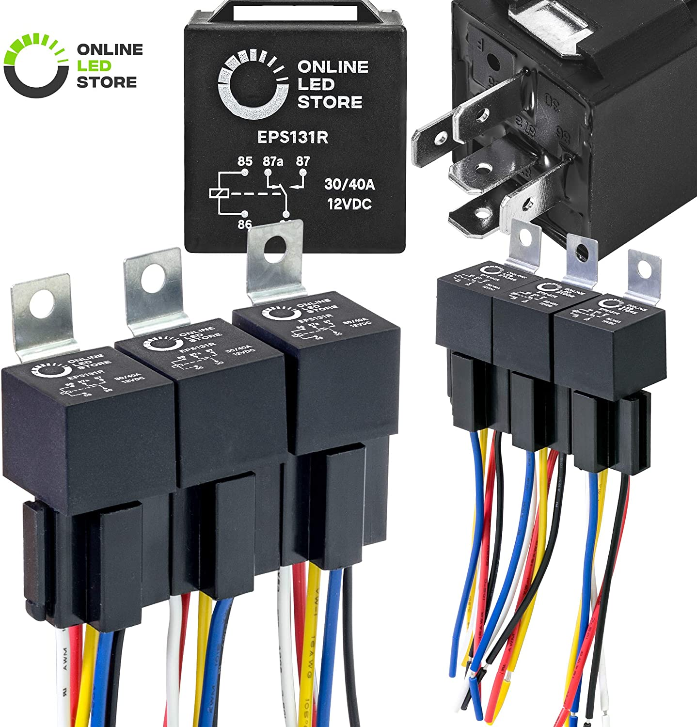 ONLINE LED STORE 6 Pack - 12V DC 40/30 Amp 5-Pin SPDT Automotive Relay Harness Set (Bosch Style with Interlocking Harnesses)