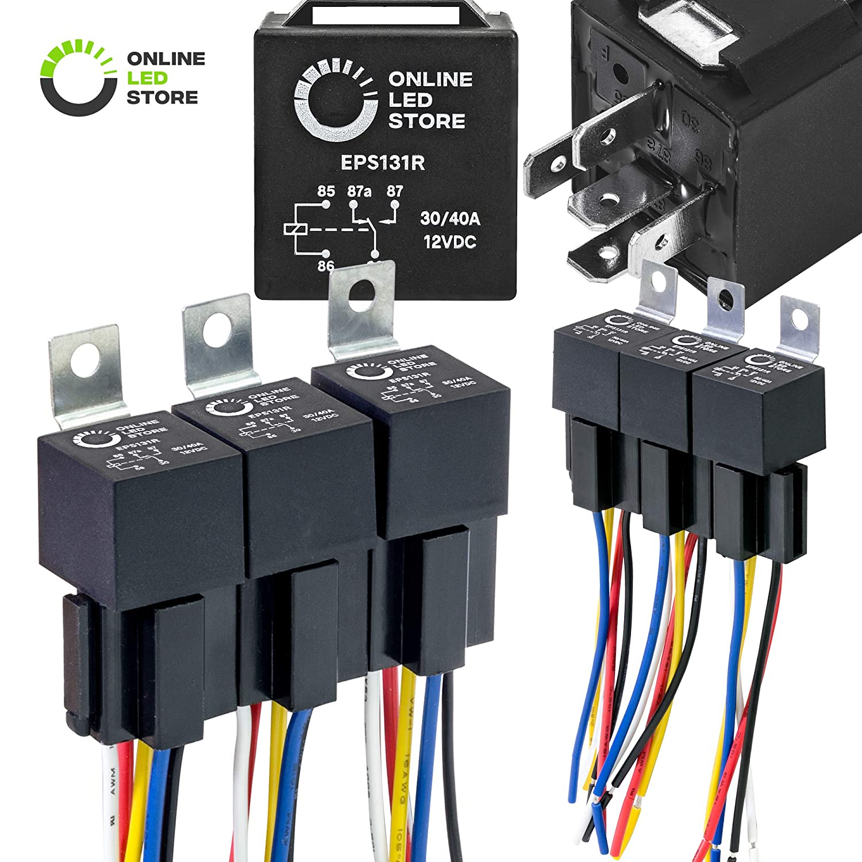 ONLINE LED STORE 6 Pack - 12V DC 40/30 Amp 5-Pin SPDT Automotive Relay on