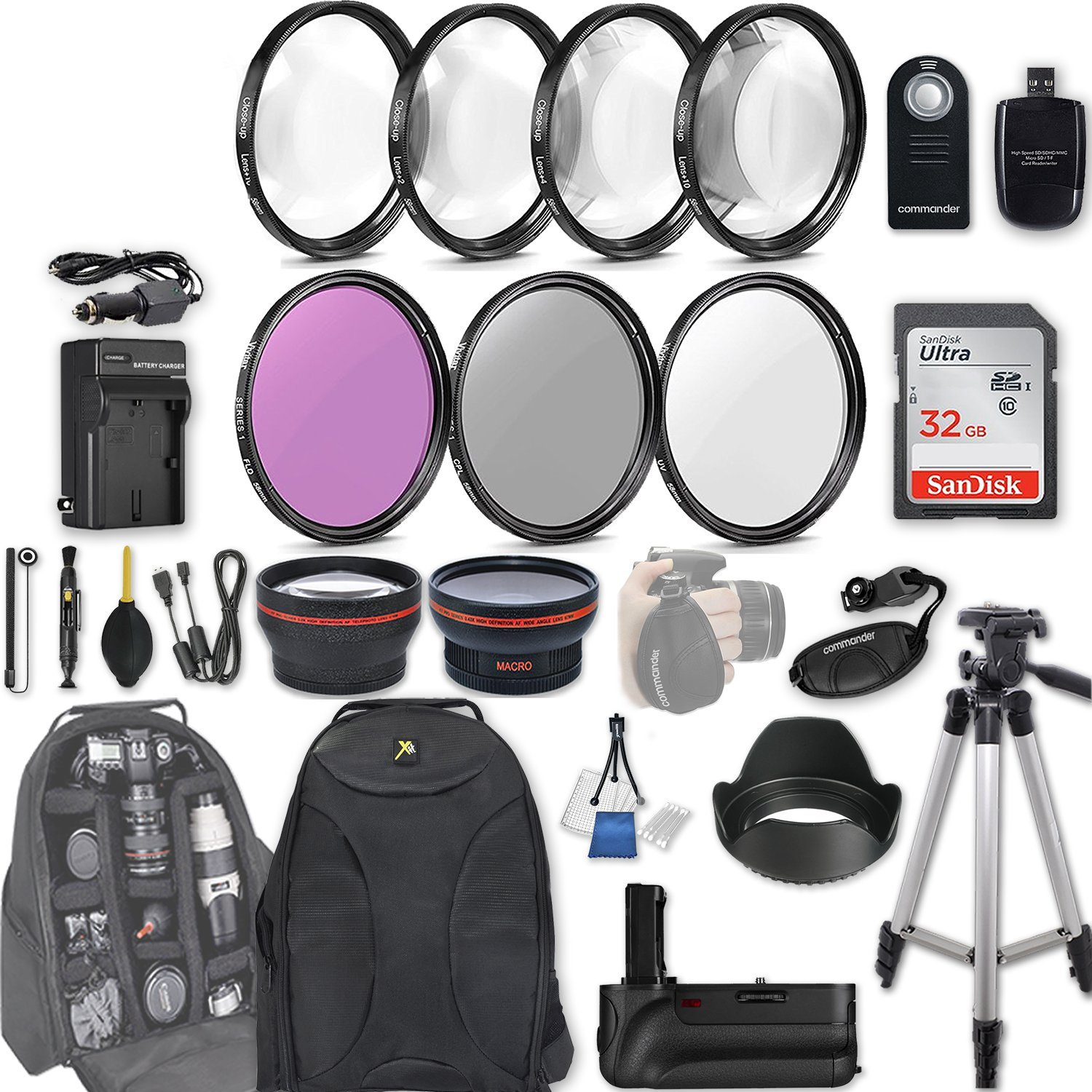 58mm 28 Pc Accessory Kit for Canon EOS T6i, T7i, 77D, T6s, 750D, 800D, 760D DSLRs with 0.43x Wide Angle Lens, 2.2x Telephoto Lens, Battery Grip, 32GB SD, Filter & Macro Kits, Backpack Case, and More by 33rd Street