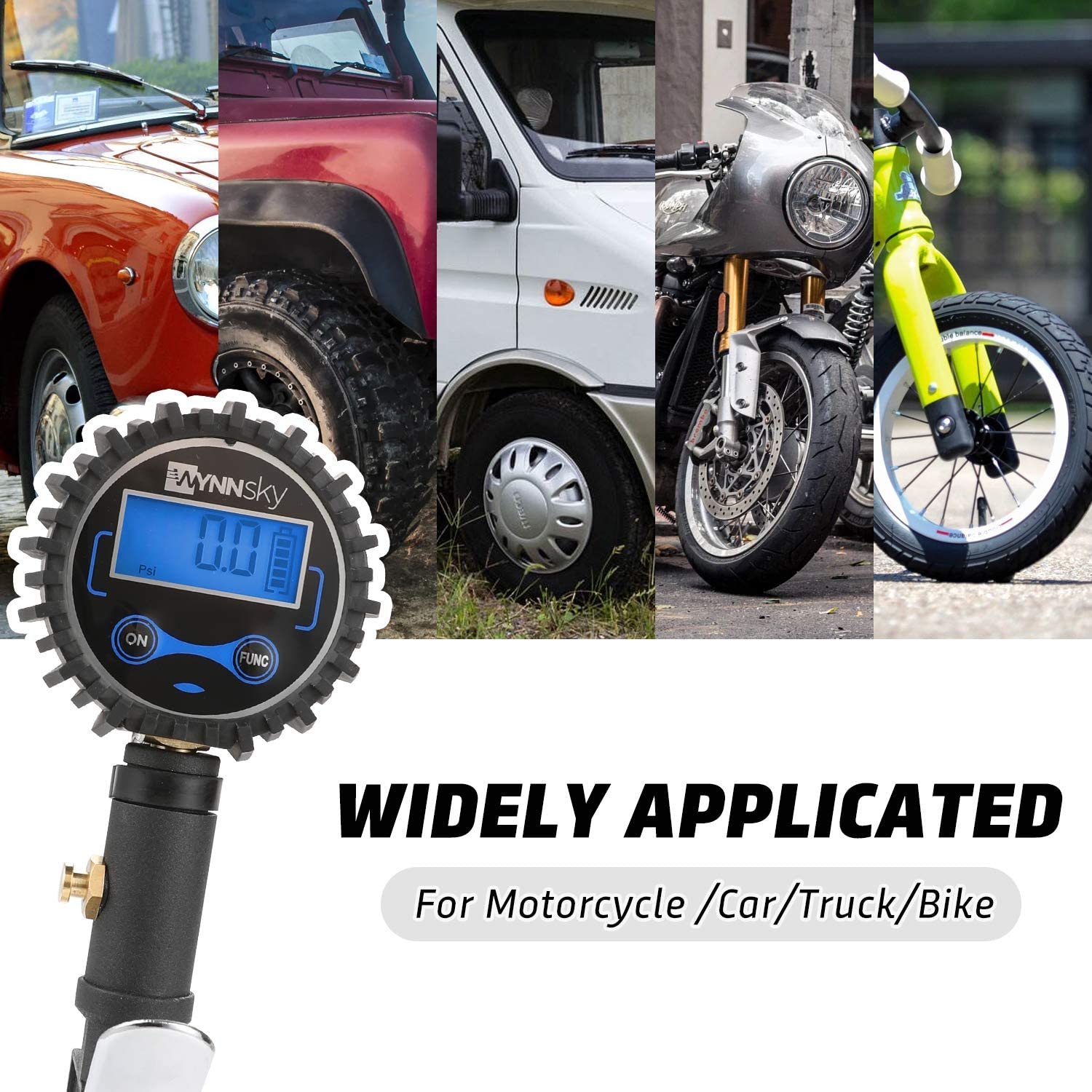 Easy Read Glow Dial Dual Head Air Chuck and Quick Connect Coupler WYNNsky Digital Tire Pressure Gauge 200 PSI and Compressor Accessories Heavy Duty Inflator with Stainless Steel Braided Hose