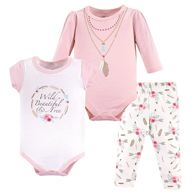 Amazon.com  Little Treasure Baby Girls  2 Bodysuit and Pant Set ... a56f18286