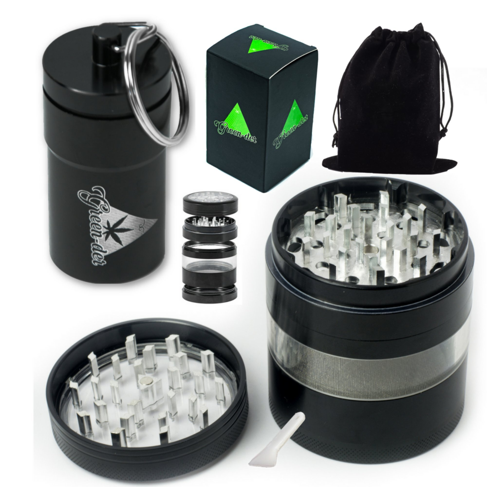 Fine Herb Grinder Set including Large, four pieces, 3.25 inches Tall, Weed Grinder with Pollen/Keef Catcher and Airtight Stash Container, Black by Green-Der