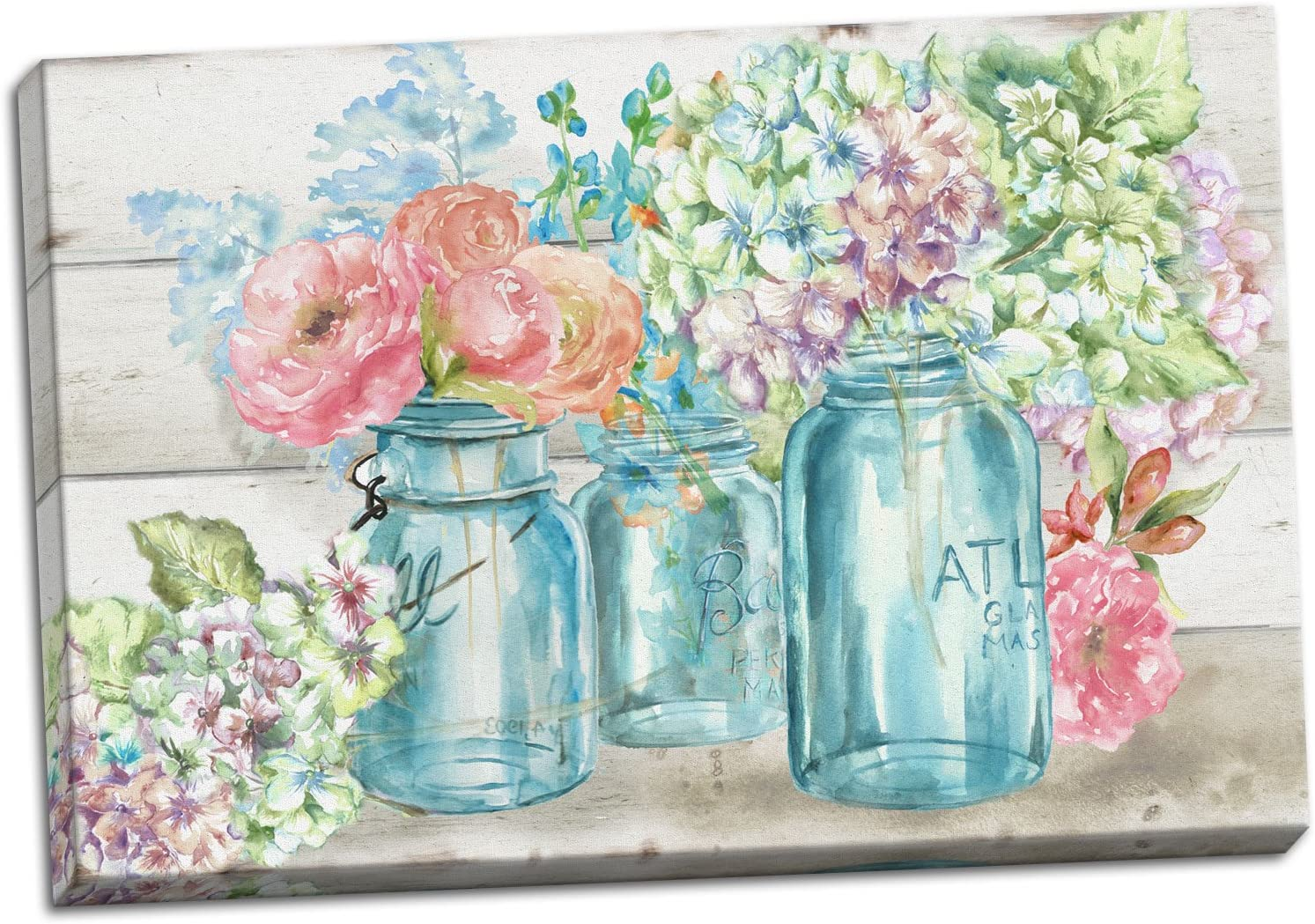 Gango Home Decor Beautiful Watercolor-Style Colorful Flowers in Mason Jar Floral Print by TRE Sorelle Studios; One 20x16in Stretched Canvas
