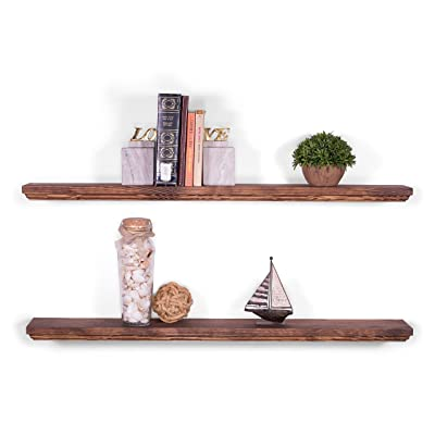 """DAKODA LOVE 36"""" x 5.25"""" Routed Edge Solid Wood Floating Shelves"""