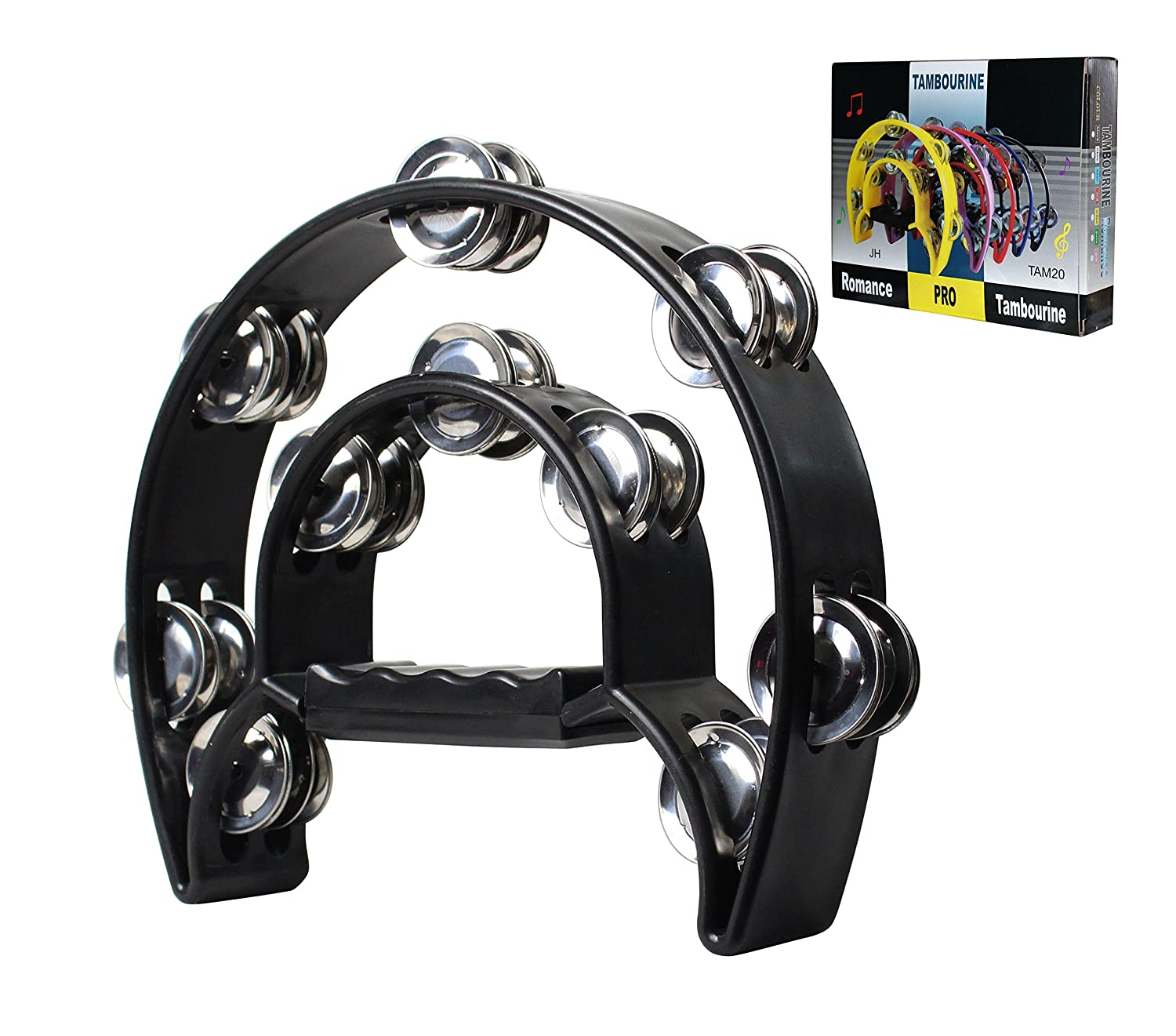 Black Comfort Grip Half Moon Double Ring Tambourine - 20 Sets of Jingles - & DirectlyCheap(TM) Blue Medium Pick YMC TAM20-BLACK