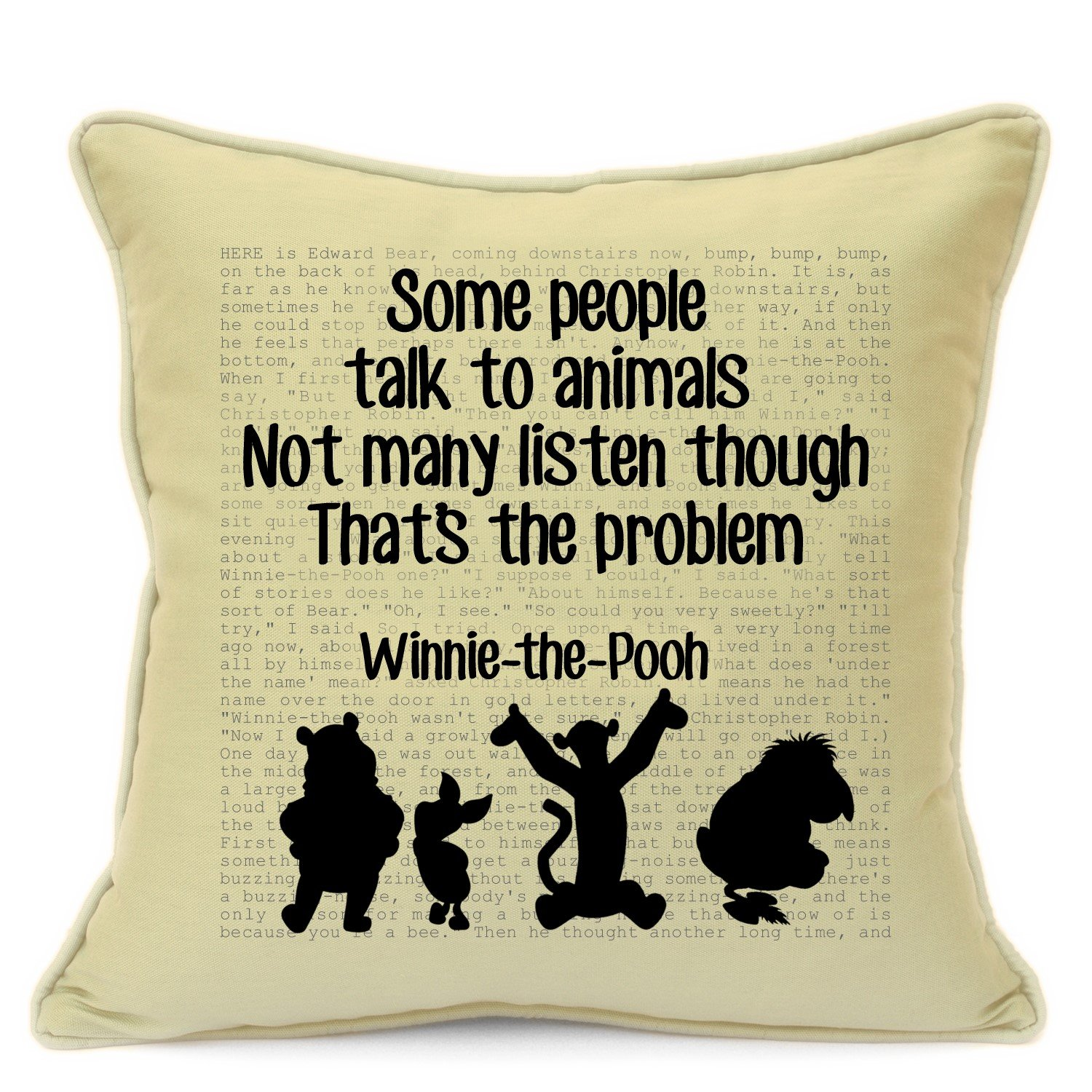 "Vintage Winnie The Pooh Disney Quotes Birthday Christmas Xmas 2017 Housewarming Party Gifts For Kids Girls Nursery Art Handmade 18"" Cushion Cover For Sofa Chair Couch Living Room Bedroom"