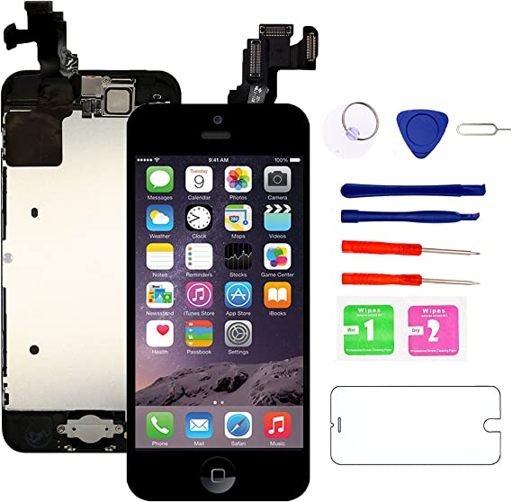 Amazon Com Nroech For Iphone 5c Screen Replacement With Home Button And Camera Full Assembly 5c Lcd Display Touch Digitizer Free Repair Tools Kit And Tempered Glass Screen Protector Black