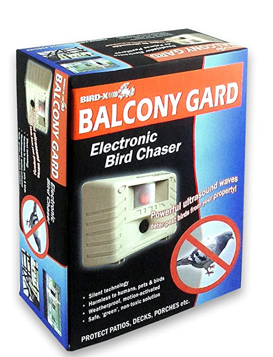 Amazon.com : Bird X Balcony Gard Ultrasonic Bird Repeller Keeps Birds Away  From Small Areas Like Balconies, Decks And Small Yards With  Silent To Humans, ...