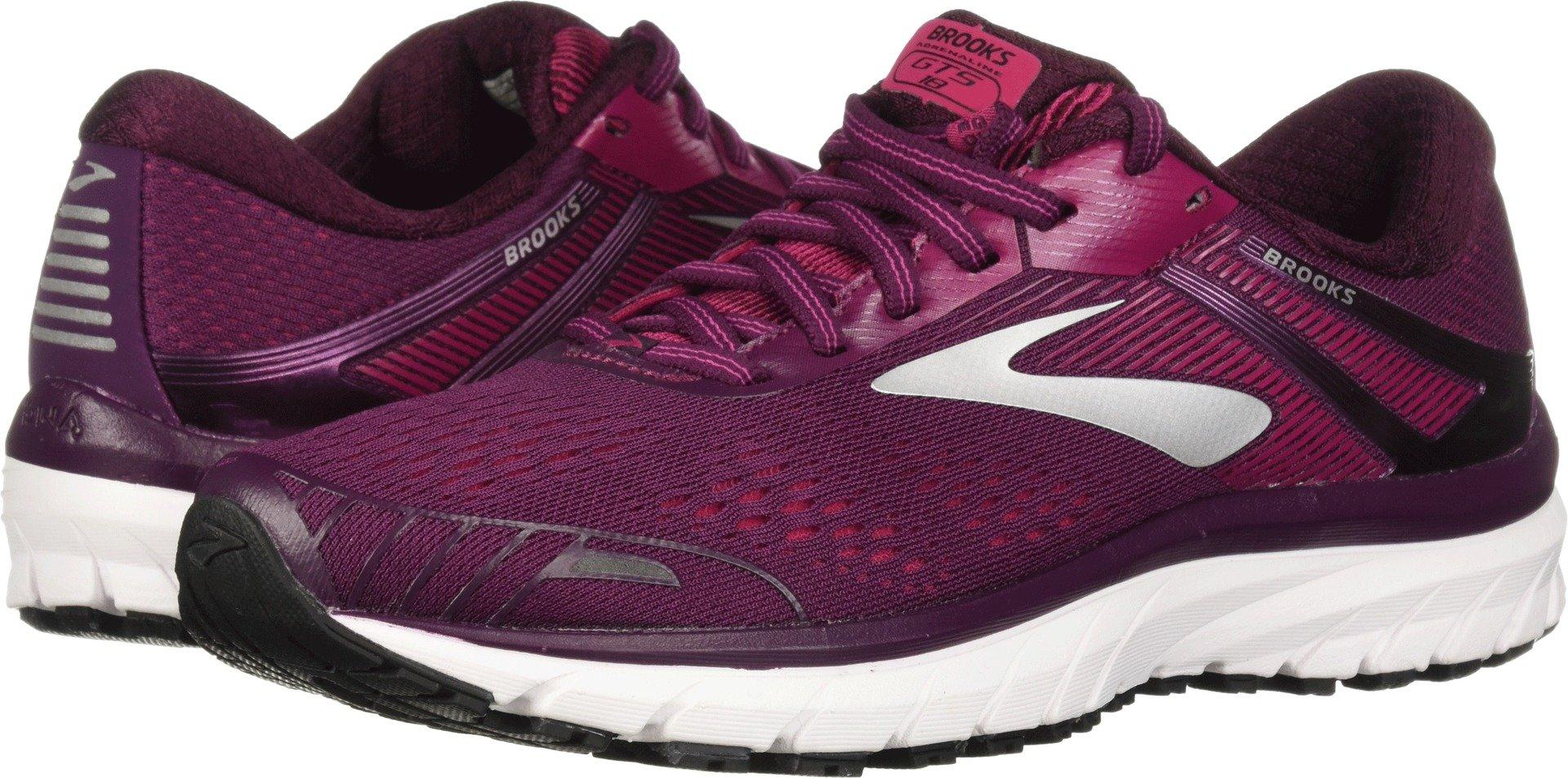 Brooks Women's Adrenaline GTS 18 Purple/Pink/Silver 5 B US by Brooks (Image #1)