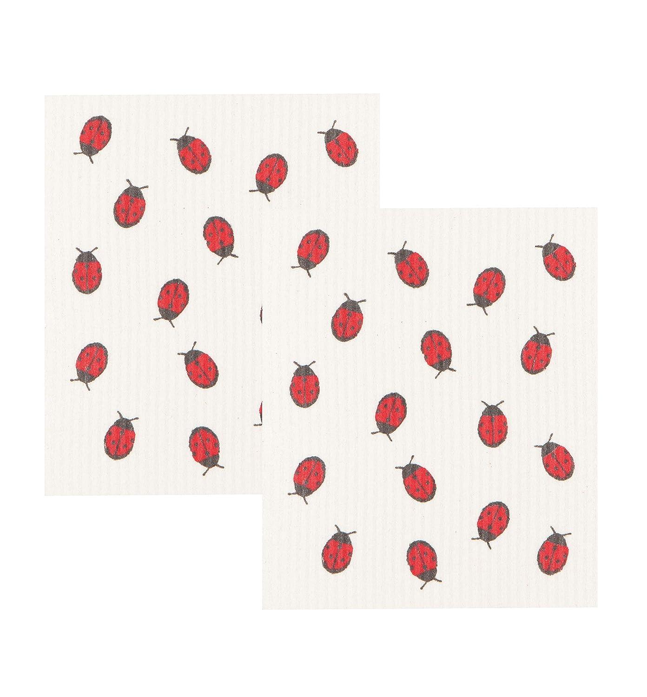 Now Designs Swedish Dishcloths, Set of 2, Fly Away Ladybug Print