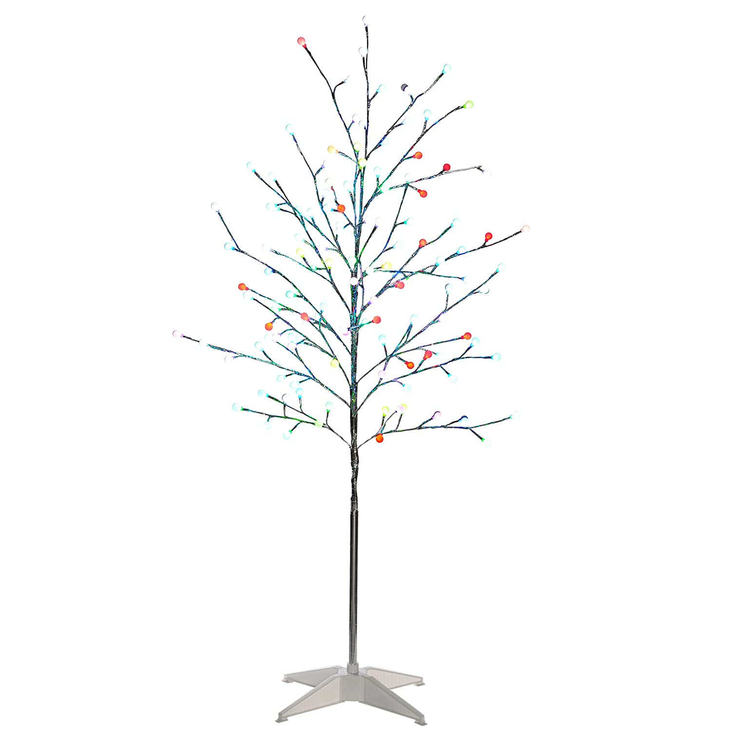 werchristmas 5 ft pre lit colour changing 124 led twig tree with