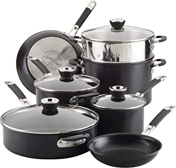 Anolon 87543 Smart Stack Hard Anodized Nonstick 11-Piece Cookware Set