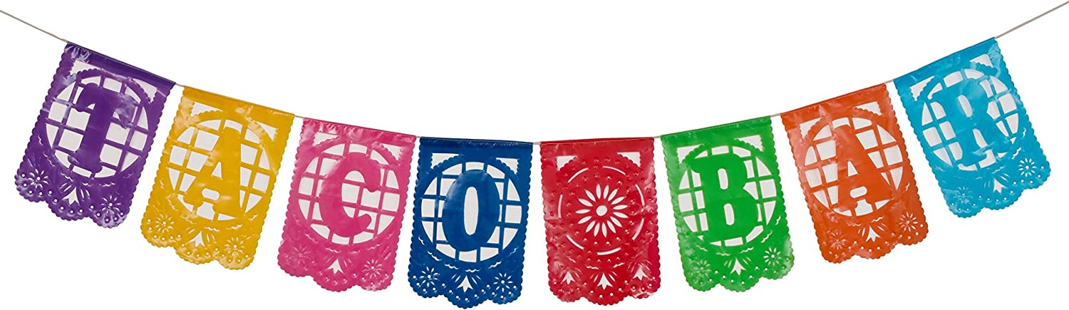 Paper Full of Wishes I Mexican Plastic Papel Picado Banner I Taco Bar I Multi-Color Small Letrero Banner