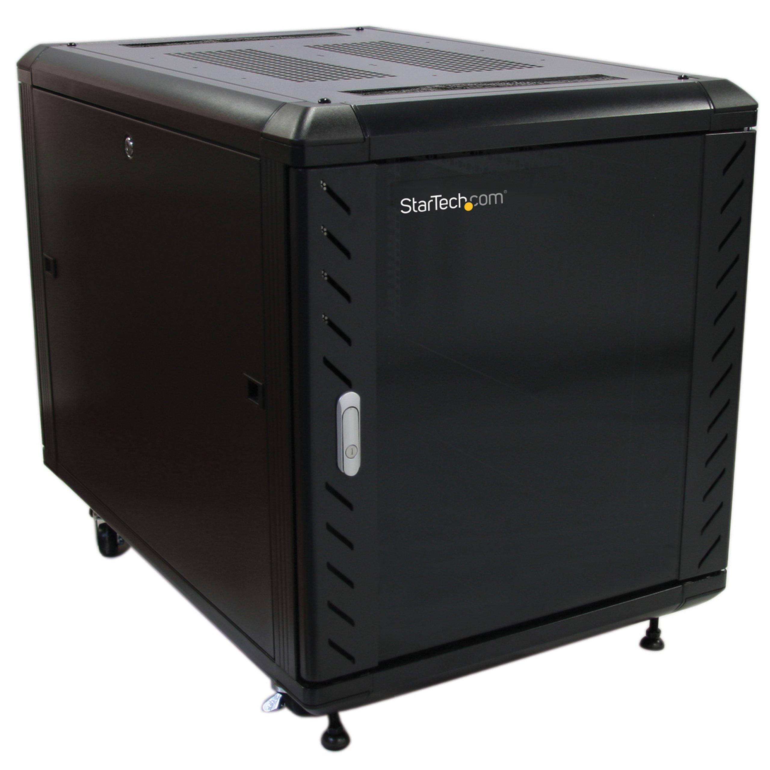 StarTech.com Portable Server Rack Cabinet - 12U Server Rack - 36in - with Glass Door - Network Cabinet - Rolling Server Rack with Casters