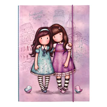Gorjuss Cityscape Friends Walk Together - Carpeta con cierre elástico