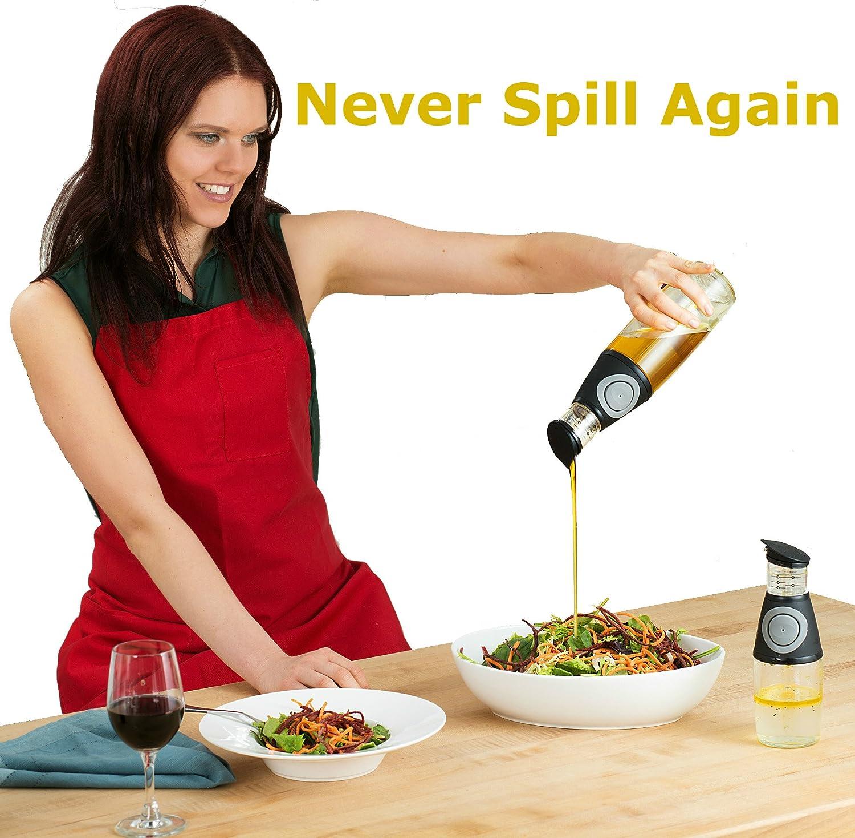 Olive Oil Dispenser Bottle Set  2 Pack Oil Vinegar Cruet with DripFree Spouts  Includes 17oz 500ml