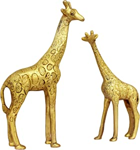 ITOS365 Show Pieces for Living Room Brass Giraffe Statue in Pair Showpiece Home Décor Decoration Gifts Items