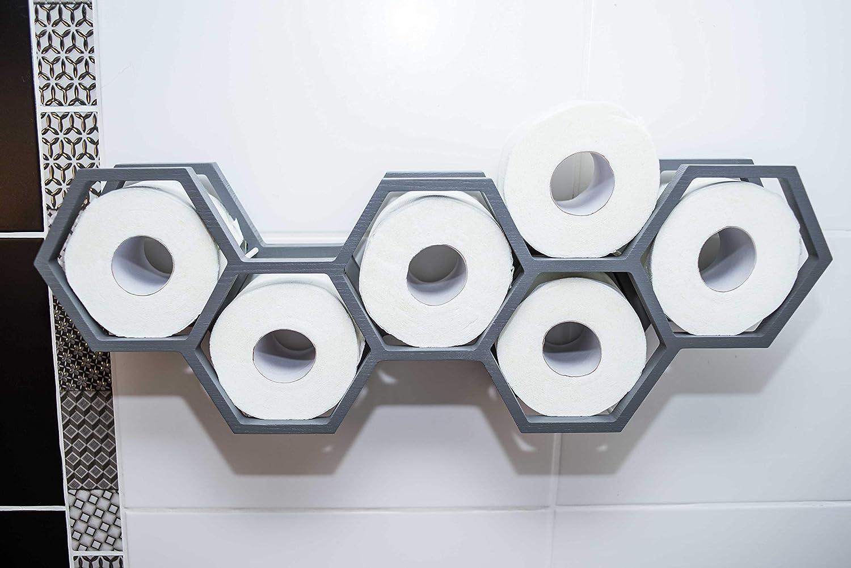 mensola e decorazione per il bagno blu Porta carta igienica in legno a nido dape